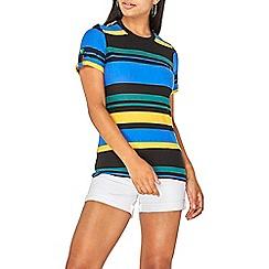 Dorothy Perkins - Multi colour striped button shoulder t-shirt