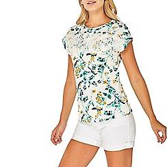 Dorothy Perkins - Ivory broderie yoke t-shirt
