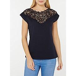 Dorothy Perkins - Navy embellished lace yoke t-shirt