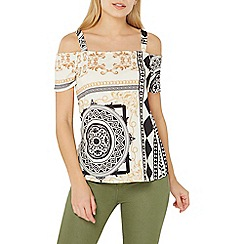 Dorothy Perkins - Ivory ity print cold shoulder top