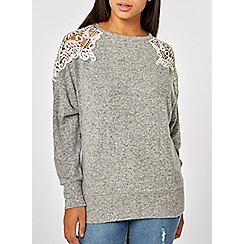 Dorothy Perkins - Grey lace shoulder batwing sleeve top