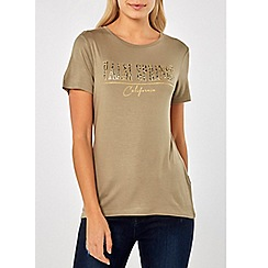 Dorothy Perkins - Khaki palm springs motif t-shirt