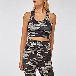 Dorothy Perkins - Grey camouflage print gym bra top
