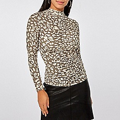 Dorothy Perkins - Multicolour animal print ruched front top