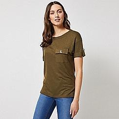 Dorothy Perkins - Khaki Turn Back Utility T-Shirt