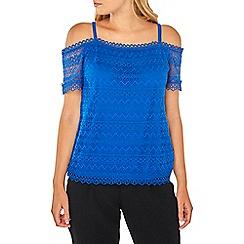 Dorothy Perkins - Cobalt lace cold shoulder top