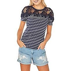 Dorothy Perkins - Navy striped lace yoke t-shirt