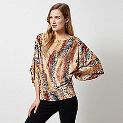 Dorothy Perkins - Multi Colour Snake Print Cutabout Wide Sleeve Top