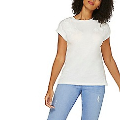 Dorothy Perkins - Ivory floral applique t-shirt