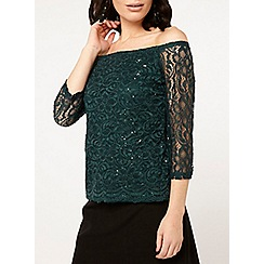 Dorothy Perkins - Green sequin embellished lace bardot top