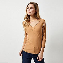 Dorothy Perkins - Camel Rouched Ribbed 3/4 Sleeve Top