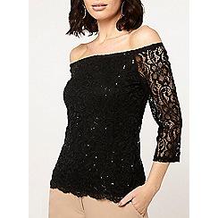 Dorothy Perkins - Black sequin lace bardot top