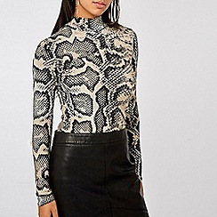 Dorothy Perkins - Neutral Snake Print High Neck Top