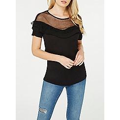 Dorothy Perkins - Black dobby yoke frill t-shirt