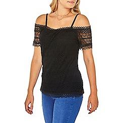 Dorothy Perkins - Black lace cold shoulder top
