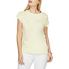 Dorothy Perkins - Yellow floral applique t-shirt