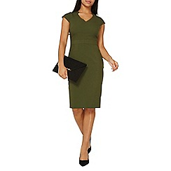 Dorothy Perkins - Khaki V-neck pencil dress