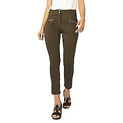 Dorothy Perkins - Khaki zip skinny trousers
