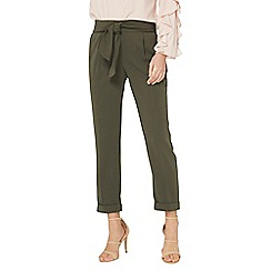 Dorothy Perkins - Khaki tie tapered trousers