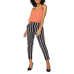 Dorothy Perkins - Navy stripe split hem ankle grazer trousers