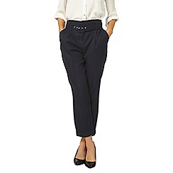 Dorothy Perkins - Navy belted tapered leg trousers