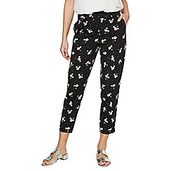 Dorothy Perkins - Black daisy split hem ankle grazer trousers