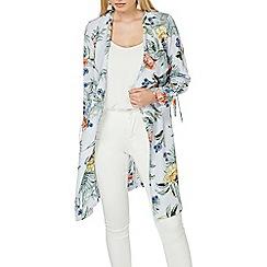 Dorothy Perkins - Silver floral tie sleeve duster coat