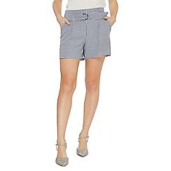 Dorothy Perkins - Navy gingham o-ring tailored shorts