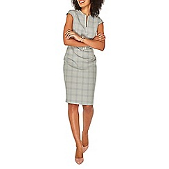 Dorothy Perkins - Grey checked belted pencil dress