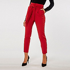 Dorothy Perkins - Red tie tapered trousers