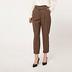 Dorothy Perkins - Dogtooth checked belted peg trousers