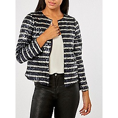 Dorothy Perkins - Black striped sequin jacket