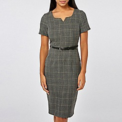 Dorothy Perkins - Grey Checked Notch Neck Pencil Dress