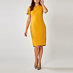 Dorothy Perkins - Ochre Button Front Pencil Dress