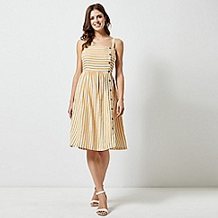 Dorothy Perkins - Yellow Linen Striped Camisole Dress