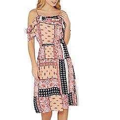 Dorothy Perkins - Peach tile print midi dress