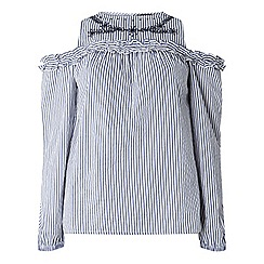Dorothy Perkins - Navy striped embroidered cold shoulder top