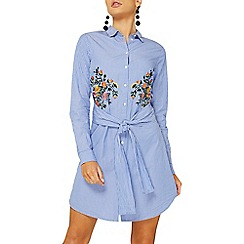 Dorothy Perkins - Blue embroidered shirt dress
