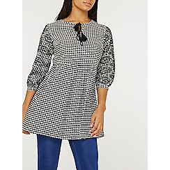 Dorothy Perkins - Black gingham embroidered tunic top