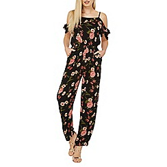 Dorothy Perkins - Black floral cold-shoulder jumpsuit