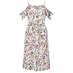Dorothy Perkins - Ivory floral print frill cold-shoulder midi skater dress