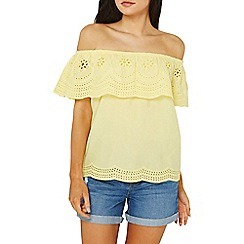 Dorothy Perkins - Yellow broderie frill bardot top
