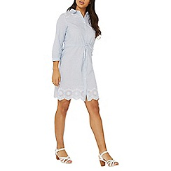 Dorothy Perkins - Blue and white striped broderie shirt dress