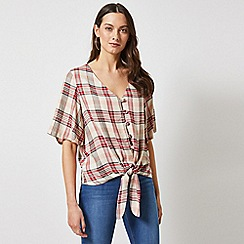 Dorothy Perkins - Red Tie Front Check Top