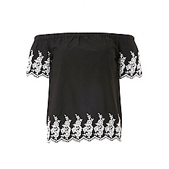 Dorothy Perkins - Black embroidered bardot top