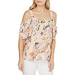 Dorothy Perkins - Blush tropical layer sleeve cold shoulder top