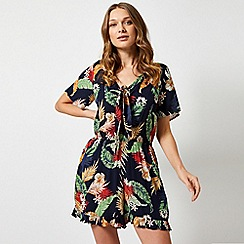 Dorothy Perkins - Navy Tropical Floral Print Playsuit