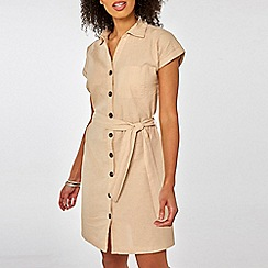 Dorothy Perkins - Stone Linen Shirt Dress