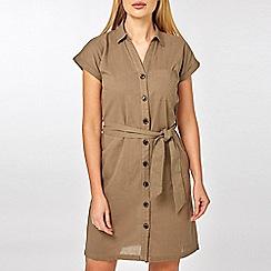 Dorothy Perkins - Khaki Linen Shirt Dress