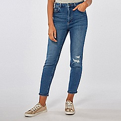 Dorothy Perkins - Midwash mom high rise tapered jeans